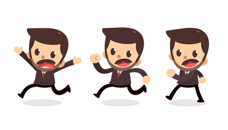 Set of Businessman character in actions. Walk and run.