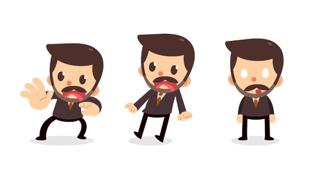 Set of tiny businessman character in actions. Scared and shocked. Illustration