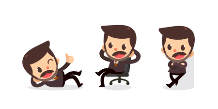 Set of tiny businessman character in actions. Relax time.