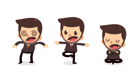 Set of tiny businessman character in actions. Numbness.