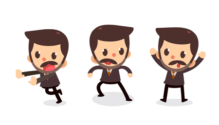 Set of tiny businessman character in actions. Surrender. Stock Illustratie