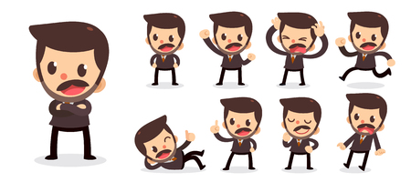 Set of tiny businessman character in actions. A man with a mustache. Illustration