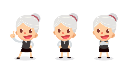 Set of tiny businesswoman character in actions. A woman with gray hair. Speak and talk.