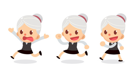 Set of tiny businesswoman character in actions. A woman with gray hair. Walk and run.