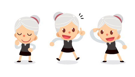 Set of tiny businesswoman character in actions. A woman with gray hair. Get Idea.