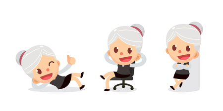 Set of tiny businesswoman character in actions. A woman with gray hair. Relax time.