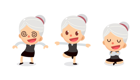 Set of tiny businesswoman character in actions. A woman with gray hair. Numbness.