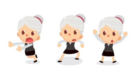 Set of tiny businesswoman character in actions. A woman with gray hair. Surrender.
