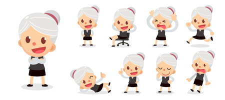 Set of tiny businesswoman character in actions. A woman with gray hair.