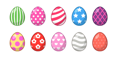 Set of Easter eggs with different texture and color on a white background. Spring holiday. Illustration
