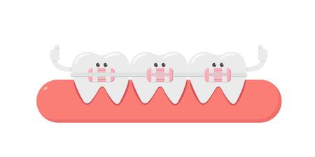 Dental cartoon, tooth, and dental braces. teeth orthodontics. Dental care. Illustration
