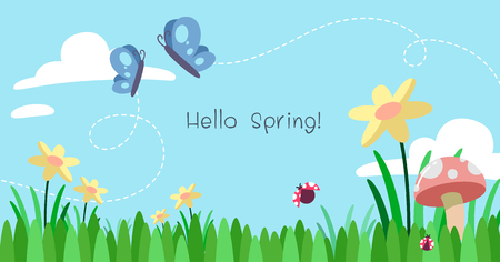 Spring background. Meadow and butterflies and ladybugs.