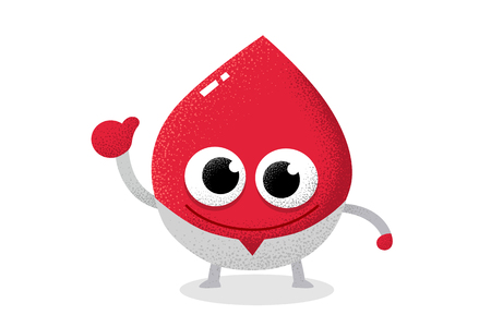 Red blood character acting as a doctor. Blood drop.