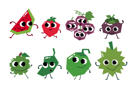 Fruit characters in flat design. Asia fruit.