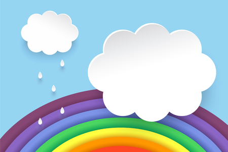 Clouds and rainbow in paper art style. Postcard and poster. Illustration