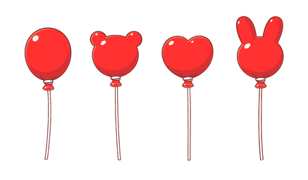 Red balloons in cartoon style, various shapes.  イラスト・ベクター素材