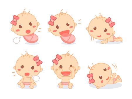 Set of a cute newborn baby girl. Infant toddler milestones. Baby development.