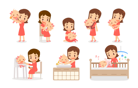 Mom and baby girl. Mom and baby in various actions. Lovely family. Illustration