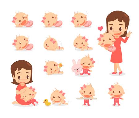 Moeder en babymeisje. Ontwikkelingsstadia van de baby. Baby mijlpalen. Vector Illustratie