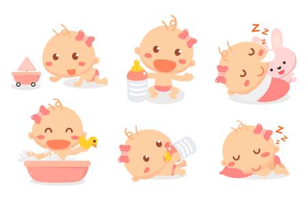 Baby girl activities set. Baby acting. Baby development and milestones.