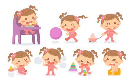 Set of baby girl development stages in actions. Baby milestones.