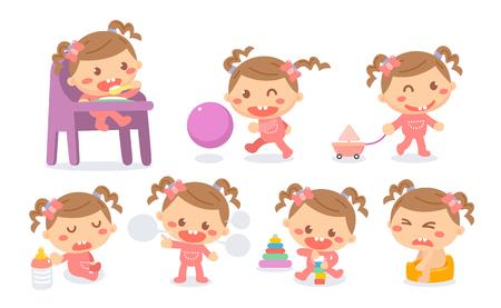 Set of baby girl development stages in actions. Baby milestones.