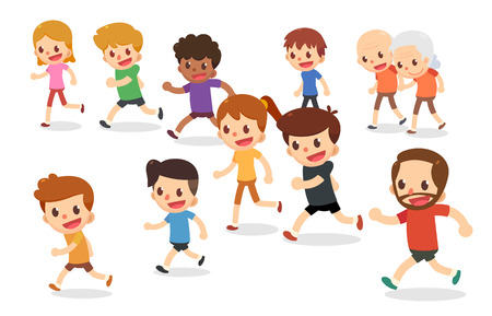 Running cartoon characters. Marathon runners in various ages. Fun run.