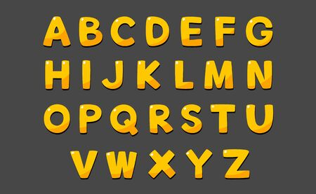 Cute alphabet in cartoon style and yellow gold color. Illustration
