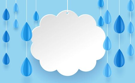 Cloud and rain chandelier in paper art style on a blue background. Illustration