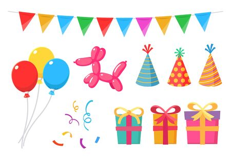 Party items set pack with balloons, gifts, boxes, flags, streamers, and hats.