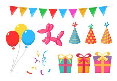 Zestaw elementów imprezowych z balonami, prezentami, pudełkami, flagami, serpentynami i czapkami.
