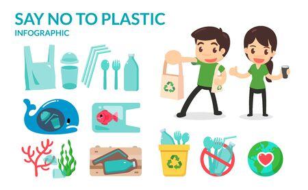 Dì no a tubi di plastica, borse, bottiglie e bicchieri di paglia per salvare la terra e l'oceano. Vai campagna verde. Vettoriali