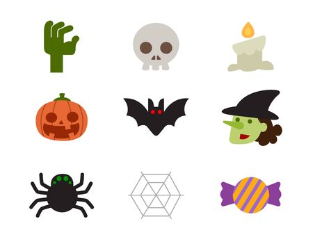 Halloween icon set of characters design in flat design.