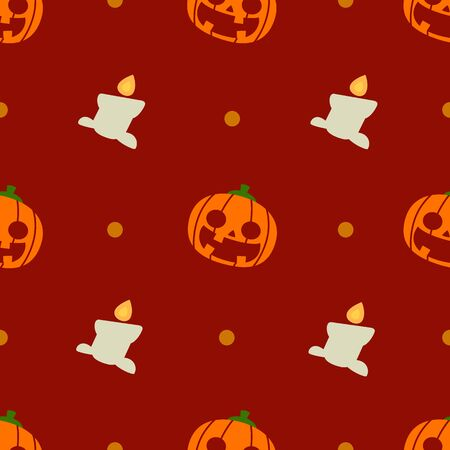 Halloween pattern and wallpaper for gift and present on Halloween day. Pumpkins and candles.