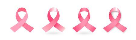 Set of pink ribbons, breast cancer awareness symbol.