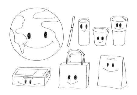 Cute doodle cartoon earth and wares,  paper and cloth bags, bottle cup and straw.
