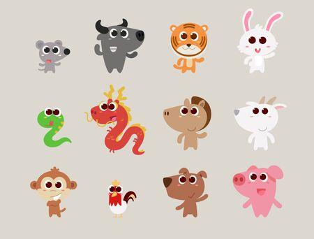 Zodiac animals are cute flat cartoon style standing and smile. Ilustração
