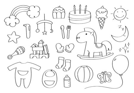 Cute doodle baby accessories cartoon icons and objects.