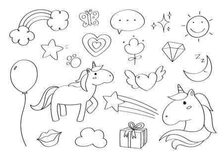 Cute doodle pony unicorn cartoon icons and objects.