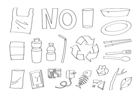Cute doodle junk plastic cartoon icons and objects.