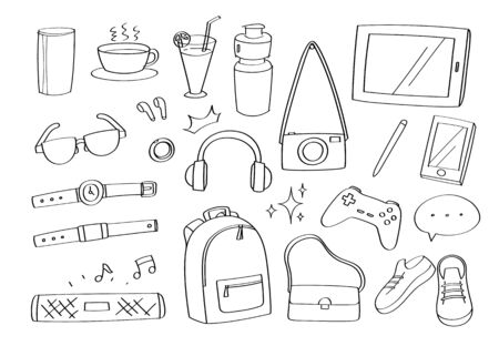 Cute doodle lifestyle gadgets accessories cartoon icons fashion and objects.
