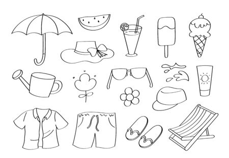 Cute doodle summer season cartoon icons and objects. Ilustração
