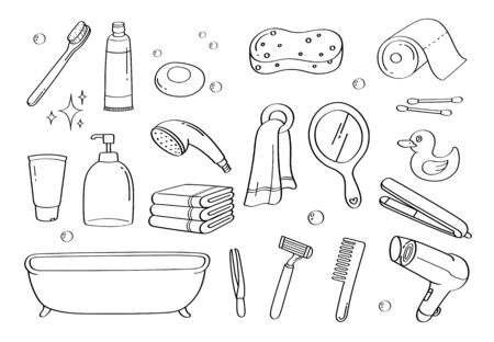 Cute doodle bathroom accessories cartoon icons and objects. Vektorgrafik