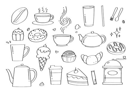 Cute doodle coffee cafe and bakery cartoon icons and objects. Ilustracja