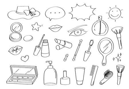 Cute doodle beauty makeup and fashion cartoon icons and objects.