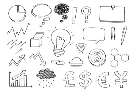 Cute doodle business finance investment stockport cartoon icons and objects.