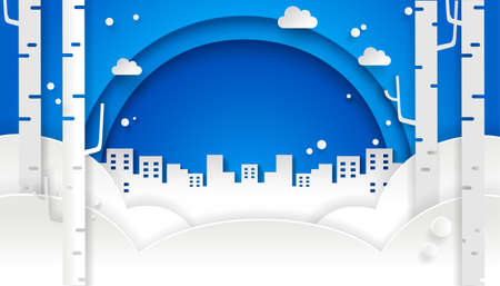 Winter paper art design with blue sky and city. Snowing background.