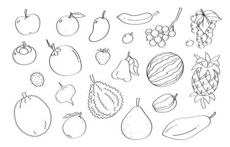 Cute doodle fruit cartoon icons and objects.