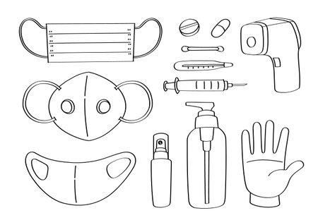 Cute doodle medical object cartoon icons and objects. Covid-19, Coronavirus protection. Ilustração
