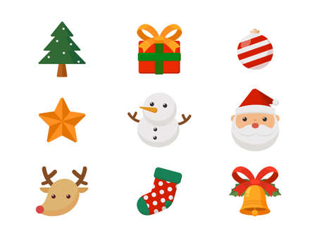 Christmas cute cartoon icons for cards, advertising, tags, sign, symbol. Vector cartoon.